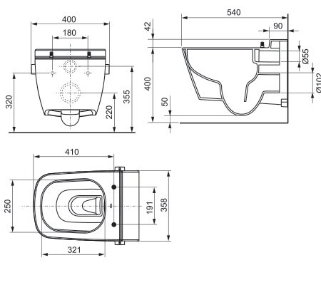 תמונת אסלה שוטפת תלויה רימלס, ללא תעלה TECEone 9700200 2